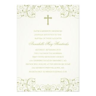 Bautismo del oro/invitación cruzados del bautizo