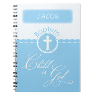 Bautismo, nombre de encargo, niño azul de dios cuadernos