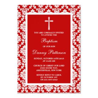 """Bautismo o bautizo rojo de la cruz del damasco invitación 5"""" x 7"""""""