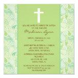 Bautismo verde Inviation de la niña de PAISLEY Invitación 13,3 Cm X 13,3cm