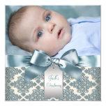 """Bautizo azul beige de la foto del bebé del damasco invitación 5.25"""" x 5.25"""""""