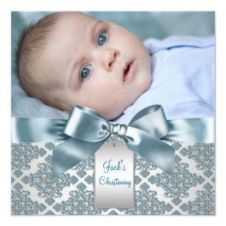 Bautizo azul de la foto del bebé del damasco del invitaciones personalizada