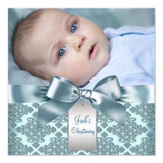 """Bautizo azul de la foto del bebé del damasco del invitación 5.25"""" x 5.25"""""""