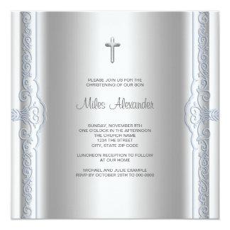 Bautizo azul de plata del bebé anuncio personalizado
