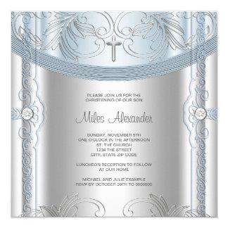 """Bautizo azul de plata del bebé invitación 5.25"""" x 5.25"""""""