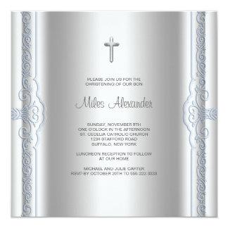 Bautizo azul de plata del bebé anuncios personalizados