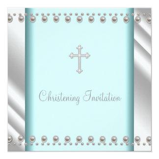 Bautizo azul del bautismo del bebé de la cruz de comunicados