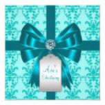 Bautizo azul del bautismo del bebé del damasco del invitaciones personalizada