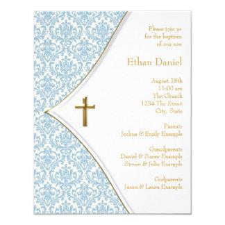 Bautizo azul del bautismo del muchacho de la cruz comunicados personalizados