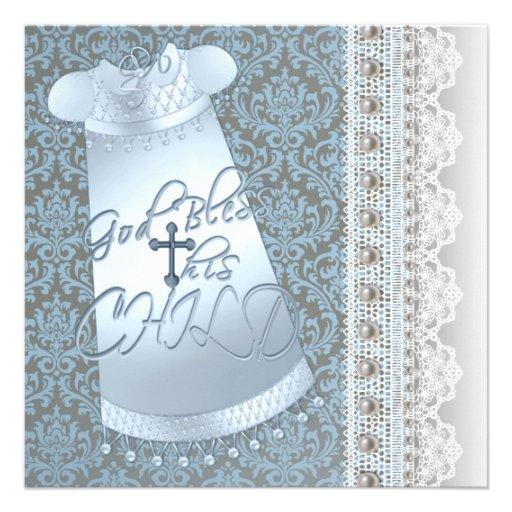 Bautizo azul del bebé del damasco de Brown del ves Invitaciones Personalizada