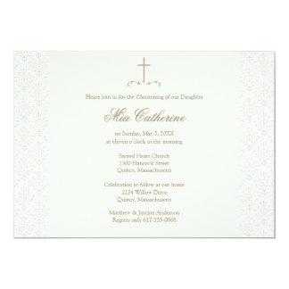 """Bautizo/bautismo de marfil de la cruz de la crema invitación 5"""" x 7"""""""