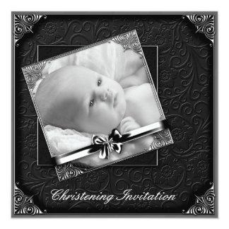 Bautizo blanco negro elegante de la foto invitacion personal