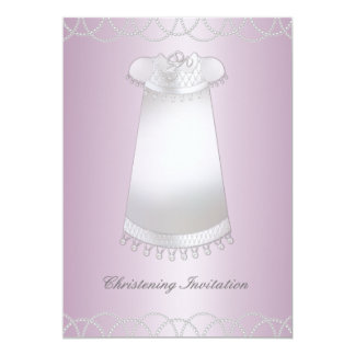 Bautizo blanco rosado del chica del vestido del invitación 12,7 x 17,8 cm