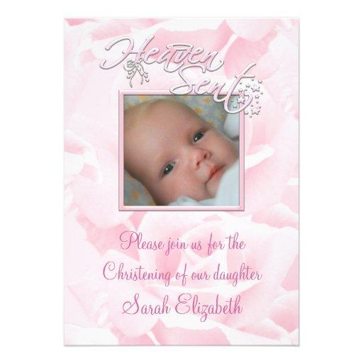 Bautizo color de rosa rosado de la foto de la niña invitaciones personales