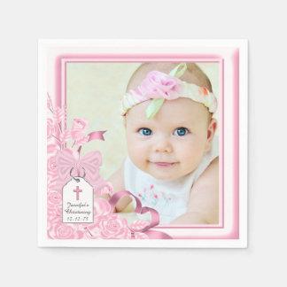Bautizo color de rosa rosado elegante de la foto servilletas desechables
