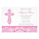 Bautizo cruzado adornado rosado del bautismo del c anuncio personalizado