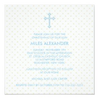 Bautizo cruzado azul beige elegante de los comunicados personales