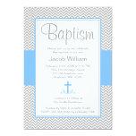 Bautizo cruzado azul gris del bautismo del comunicados personalizados