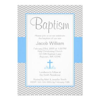 Bautizo cruzado azul gris del bautismo del muchach comunicados personalizados