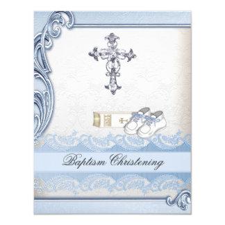 """Bautizo cruzado blanco azul del damasco del invitación 4.25"""" x 5.5"""""""