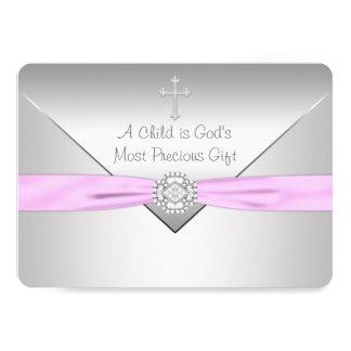 Bautizo cruzado rosado de la niña invitación 12,7 x 17,8 cm