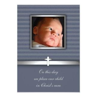 Bautizo de la foto del bebé de la raya azul invitación personalizada