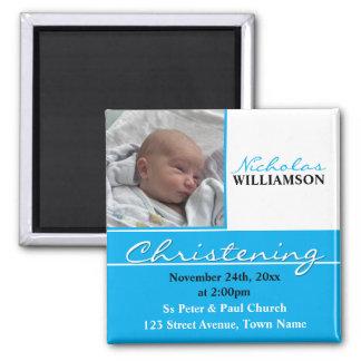 Bautizo de la foto o invitación azul del bautismo imán cuadrado