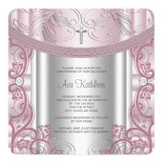 """Bautizo de plata y rosado de la niña invitación 5.25"""" x 5.25"""""""