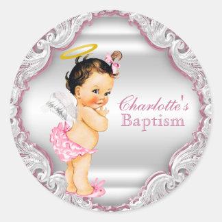 Bautizo del bautismo del ángel de los chicas pegatina redonda