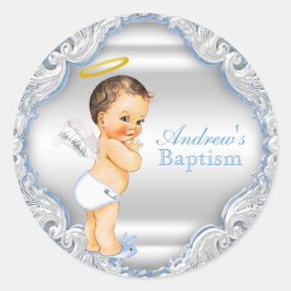 Bautizo del bautismo del ángel del muchacho pegatina redonda