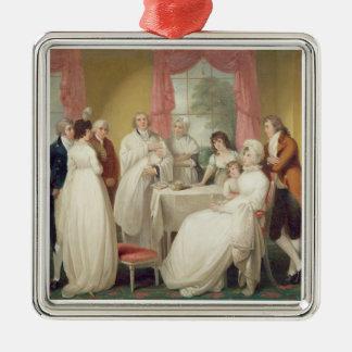 Bautizo del heredero, (aceite en lona) SE c.1799 Adorno Navideño Cuadrado De Metal
