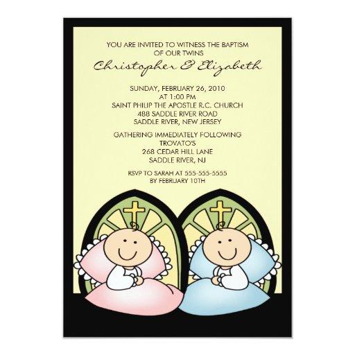 Bautizo gemelo lindo Inviation del bautismo del Invitación 12,7 X 17,8 Cm