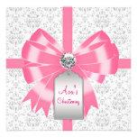 Bautizo gris rosado del bautismo de la niña del da invitación personalizada