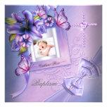 Bautizo púrpura de la foto del rosa del chica del