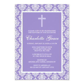 """Bautizo púrpura del bautismo del chica de la cruz invitación 5"""" x 7"""""""