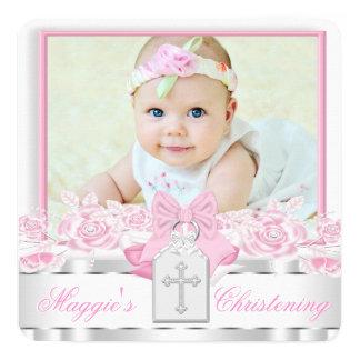 Bautizo rosado cruzado blanco elegante de la foto invitación 13,3 cm x 13,3cm