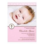Bautizo rosado del bautismo de la foto del chica d invitación personalizada
