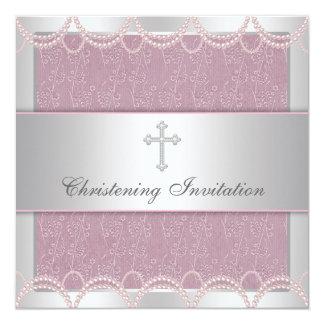 Bautizo rosado del bautismo de la niña de la cruz comunicados