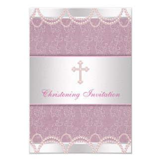 Bautizo rosado del bautismo de la niña de la cruz