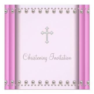 """Bautizo rosado del bautismo de la niña de la cruz invitación 5.25"""" x 5.25"""""""
