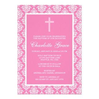 Bautizo rosado del bautismo del chica de la cruz d