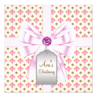Bautizo rosado del bebé de la flor de lis de Brown Comunicados