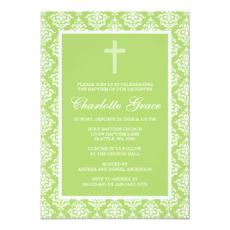 Bautizo verde del bautismo del chica de la cruz invitaciones personalizada