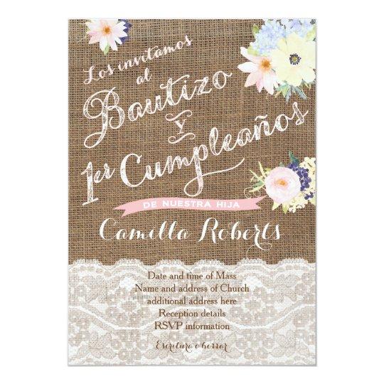 Bautizo y 1er cumplea os invitaciones para ni a - Invitacion para cumpleanos ...