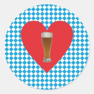 Bavaria heart Weiisbier Bavaria heart wheat more b Round Sticker