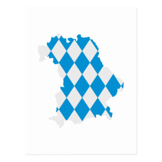 Bavaria map flag postcard
