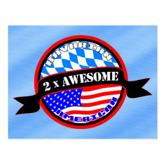 Bavarian American 2x Awesome Design Postcard
