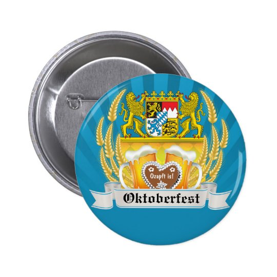 Bavarian Arms and Beer Oktoberfest Button