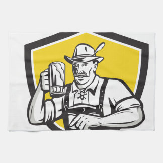 Bavarian Beer Drinker Oktoberfest Crest Retro Kitchen Towels