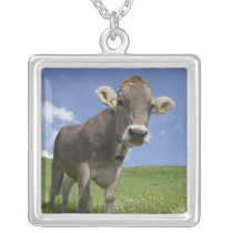 bavarian cow silver plated necklace